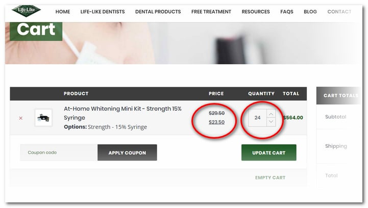 Pricing changes when you update the Shopping Cart
